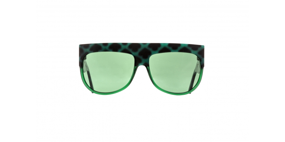 D-FRAME SUNGLASSES IN GREEN TURTLE COLOUR ACETATE