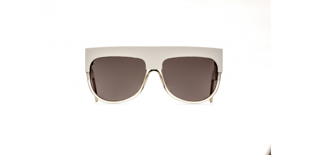 D-FRAME SUNGLASSES IN ACETATE WITH GRAY LEATHER