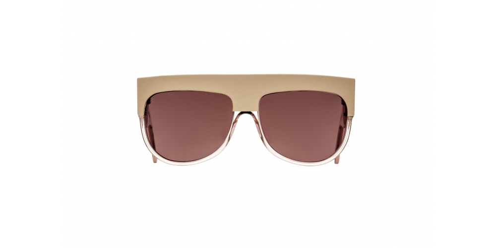 D-FRAME SUNGLASSES IN ACETATE WITH CAMEL LEATHER